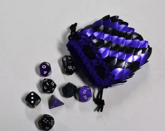 Dice Bag in knitted Dragonhide Armor purple and black size small