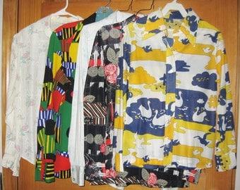 Lot of 5 Vintage 70s Ladies Blouses Medium to Large Wear or Resale 1970s