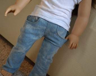 18 inch Doll Clothes - Light Wash Bleached Straight Leg Jeans with real pockets - fit American Girl