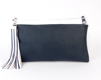 Navy and White Clutch ~ Blue and White Leather Clutch ~ Navy and White Striped Clutch - Navy Leather Bag - Navy and White Purse -