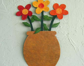 Metal Wall Art Flower Pot Sculpture Red Orange Yellow Whimsical Flowers Recycled Metal Kitchen Indoor Outdoor Wall Decor 13 x 16