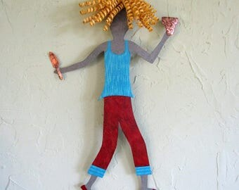 Metal Wall Art lady Gardener Sculpture Reclaimed Metal Gardening Wall Decor Blonde Blue Red Indoor Outdoor Patio Wall Art 12 x 18