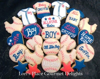 Baseball Baby Shower Cookies - 24 Cookies