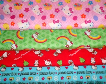 HELLO KITTY #12  Fabrics, Sold INDIVIDUALLY not as a group, by the Half Yard