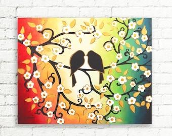 ON SALE Colorful Wall Art, Love Birds Painting Couples Gift, Cherry Blossom Canvas Art, Rainbow Art Home Decor 16x20
