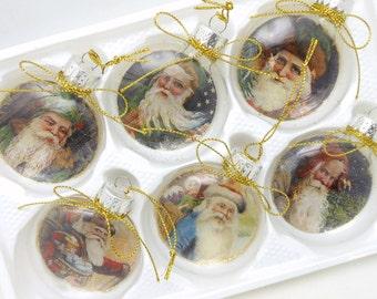 Glass Disc Santa Christmas Tree Ornaments - Set of 6