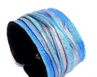 40% OFF Sale Women's blue and silver leather bracelet  Cuff  Statement Leather jewelry Fashion wristband