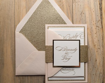 Letterpress, 1 color - Fancy Blush and Gold Glitter Wedding Invitations - SAMPLE (FAITH)