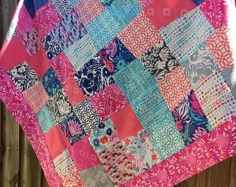 Paradiso by Kate Spain - Unfinished baby sized quilt top - Moda 42.5 inch square / floral / pink / blue / ready to quilt / sewist / gift