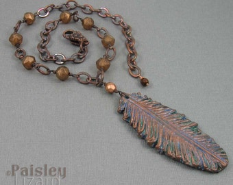 Copper feather necklace, polymer clay pendant on beaded antiqued copper chain
