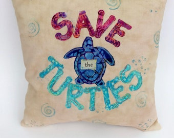 Turtle Pillow, Accent Pillow, Save the Turtles, Summer Decor,  Appliquéd Pillow, Free-Motion, Appliquéd Turtle Pillow, Endangered Species