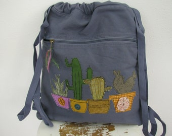Canvas  Backpack, Washed Blue Tote, Appliquéd Cactus Themed Bag, Succulent Themed, Fabric Backpack, Cinch Bag,  Appliquéd Cacti Canvas Tote