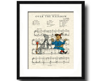 Over The Rainbow Song Lyric Sheet Music Art Print, Wizard Of Oz Movie Art Print, Scarecrow and Tin Man, Nursery Art, Kid's Room Art