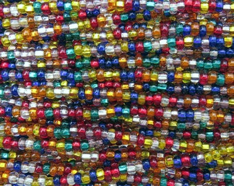 6/0 Transparent Silver Lined Color Mix Czech Glass Seed Bead Strand (CW179) SE