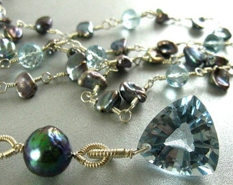 20 Off Long Blue Topaz and Grey Pearl Necklace, Wire Wrapped Long Necklace, Versatile Necklace