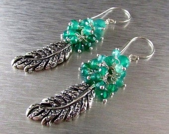 20 Off Green Onyx With Sterling Silver Leaf Charm Dangle Earrings