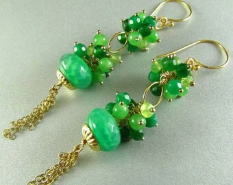 25% Off Green Quartz, Emeralds and Jade Earrings, Long Green and Gold Earrings