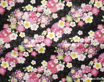Japanese Kimono Fabric - Sakura Cherry Blossoms  on Black - Half Yard (no20161110)