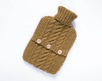 Hot water bottle cover / sweater - 90pc Scottish wool / 10pc Silk - Ochre. Hand Knit Bottle Cosy / Cozy.