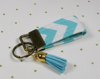 Mini Key Fob with Tassel, Mini Fabric Key Fob with Tassel, Chevron in Aqua