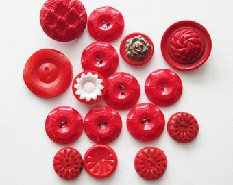 Vintage Red Plastic Flower Buttons