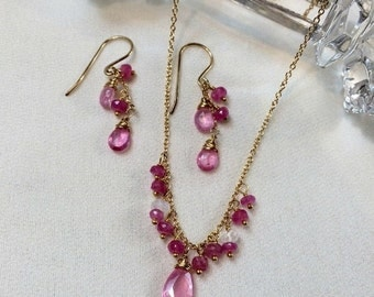 30% SALE Pink Sapphire Necklace Earrings Set, 14kt Gold Fill, Wire Wrapped, Minimalist Jewelry, Simple Everyday, Pink Gemstone September Bir