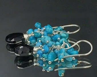 HOLIDAY SALE 30% Turquoise Cluster Earrings Black Spinel Gemstone Wire Wrapped Cluster Sleeping Beauty Turquoise Nuggets, Sterling Silver