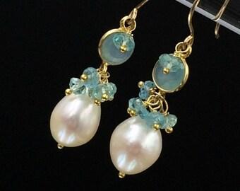 PRESIDENTS DAY SALE Aqua Gemstone Earrings Aqua Chalcedony Dangle Earrings Gold Filled Wire Wrap Connector Pearl Cluster Earrings