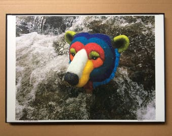"13x19"" Polar Bear in Stream Poster, FREE SHIPPING in USA! Robert F Allen's Beaded Mask Photo in Nature, Print on Premium Glossy Photo Paper"