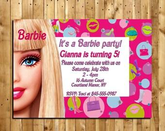 Barbie Custom Made Birthday Invitation - 5 x 7 print - Digital Delivery