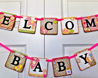 Welcome Baby Banner-Baby Shower Banner-Baby Girl Shower-Baby Girl Sign-Baby Girl Banner-Welcome Baby Girl-New Baby Gift-Welcome Baby Sign