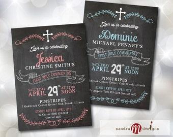 INVITATION: First Communion Baptism Christening Religious Chalkboard Style