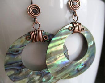 Big and Bold Paua Abalone Shell Earrings Large Big Statement Earrings Boho Chic Gypsy Style Jewelry Colorful Rainbow Beachy Copper Shell