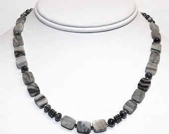 Black and Gray Banded Agate Square Beads with Tiny Labradorite Beads and Fancy Silver Beads by Carol Wilson of Je t'adorn