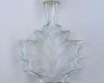 Vintage Maple Leaf Glass Syrup Bottle