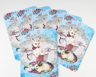 Easter Note Cards, Blank Note cards, Vintage White Bunny, Rabbit Teacup, Retro Cards, Pink Turquoise Eggs, Happy Easter Cards, Australia