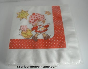 Vintage Strawberry Shortcake Napkins NOS 1980s Luncheon Napkins Unused 1982 American Greetings Napkins Movie Prop Vintage Kids Party