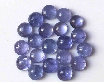 Tanzanite Cabochon gemstone - gemmy crystal cab - small round 6 mm stone natural genuine - ring stud earring tiny blue purple circle BAG9351