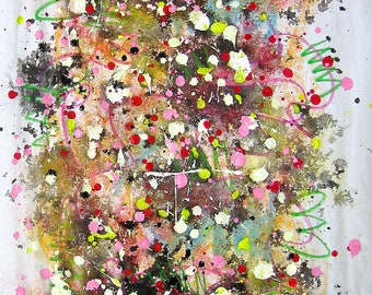 "flower-inspired painting abstract art 36""x18""/ acrylic pastel ink mixed painting/modern art on paper/ colourful acrylic abstract/ sjkim"