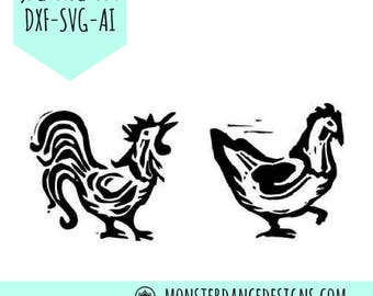 Chicken and Rooster Digital Pattern Stencil for Silhouette - Etching- Stamping