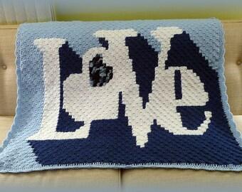 Baby Blanket, Afghan, Love Blanket, Blue Blanket, Baby Gift Blanket, Baby Boy Blanket, Throw, Baby Shower gift