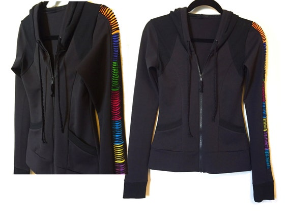 Side Slit Patch Groove Hoody Sports Jacket (Reserved For L)