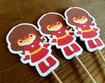 Superhero Girls Party Collection - Set of 12 Iron Man Girl Cupcake Toppers by The Birthday House