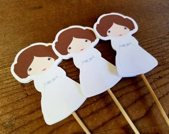 Star Wars Friends Party - Set of 12 Princess Leia Double Sided Cupcake Toppers by The Birthday House