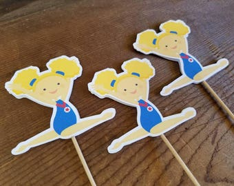 USA Gymnastics Girls Party - Set of 12 Blonde Gymnast Cupcake Toppers by The Birthday House