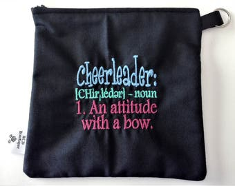 One Small 8 x 8 Zippered Cosmetic Bag: Cheerleader Definition