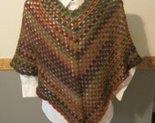 RESERVED FOR HOLLY - Crocheted Granny Square Poncho - Balance Due