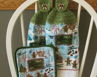2 Crocheted Christmas Hanging Kitchen Towels with Large Pot Holder - Gingerbread Village