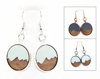Mountain Earrings - Laser Engraved Wood (Custom Made - Choose Your Color)