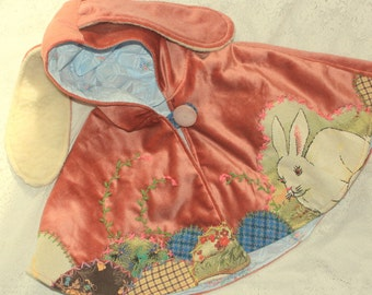 pink velvet flopsy style bunny ear cape with lucky bunny applique